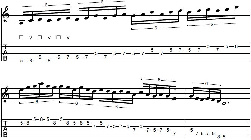 Pentatonic box sextuplet pattern